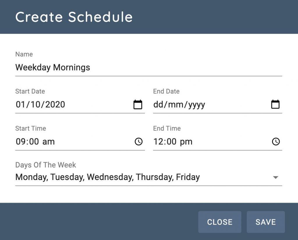 Weekday Schedule Edit